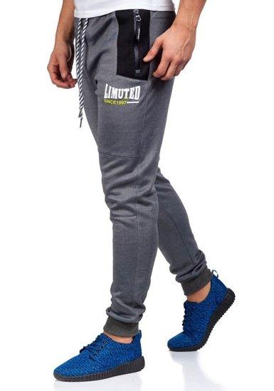 Spodnie dresowe męskie szaro-czarne Denley 3723