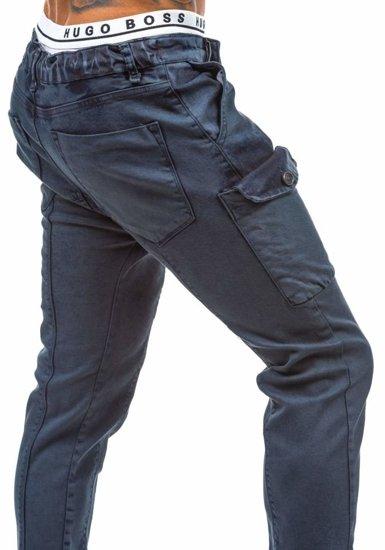 Spodnie jeansowe baggy męskie granatowe Denley 191