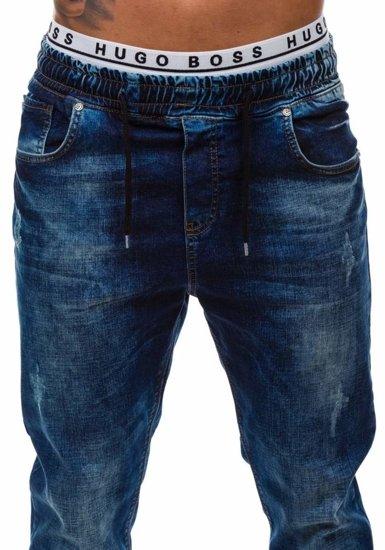 Spodnie jeansowe baggy męskie granatowe Denley 808