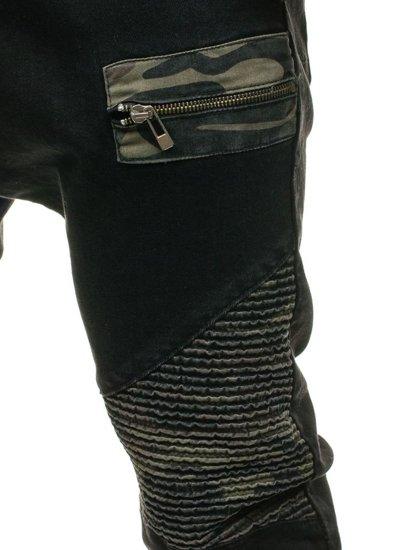Spodnie jeansowe joggery męskie czarne Denley 817