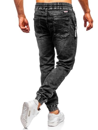 Spodnie jeansowe joggery męskie czarne Denley  KA1076