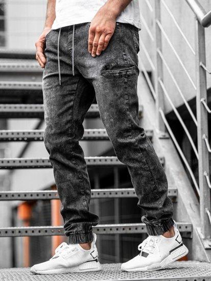 Spodnie jeansowe joggery męskie czarne Denley  KA676