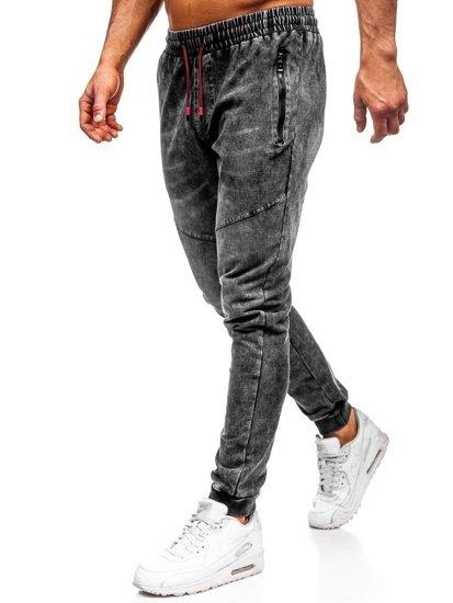 Spodnie jeansowe joggery męskie czarne Denley KK1055