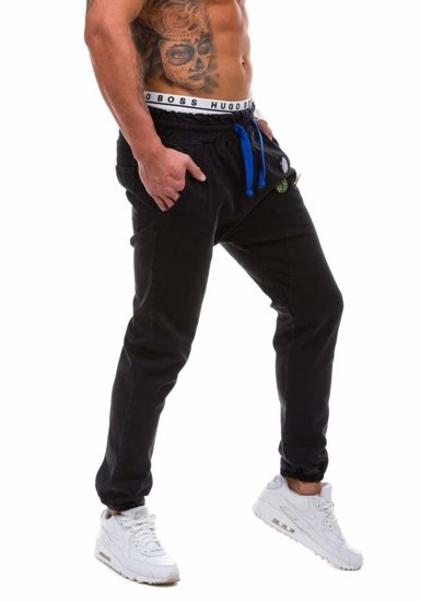Spodnie jeansowe joggery męskie czarny Denley 800