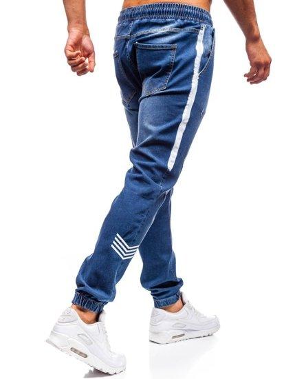 Spodnie jeansowe joggery męskie granatowe Denley 2055
