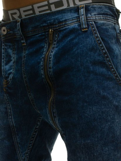 Spodnie jeansowe joggery męskie granatowe Denley 408-1