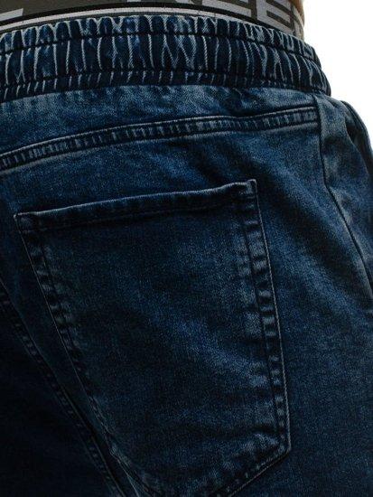 Spodnie jeansowe joggery męskie granatowe Denley 817
