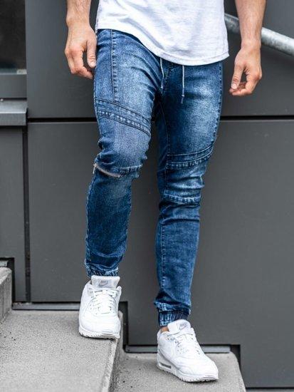 Spodnie jeansowe joggery męskie granatowe Denley KA565