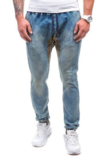 Spodnie jeansowe joggery męskie niebieskie Denley 0465