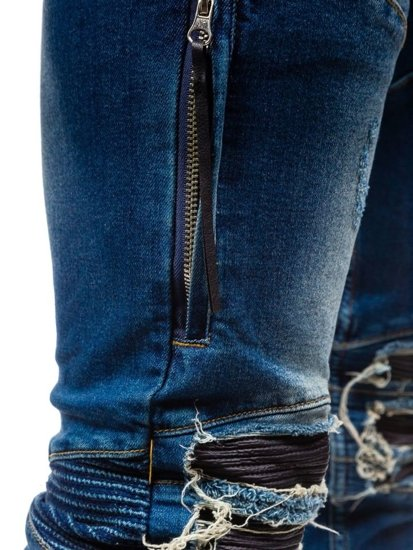 Spodnie jeansowe joggery męskie niebieskie Denley 457
