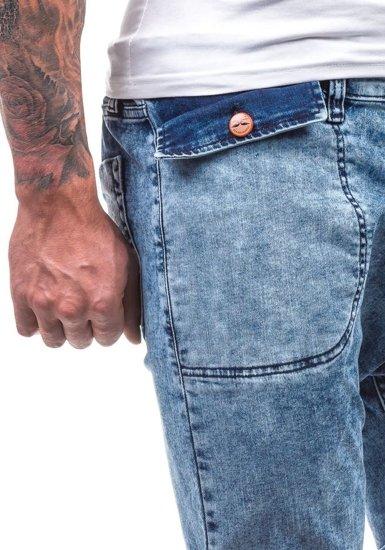 Spodnie jeansowe joggery męskie niebieskie Denley 811