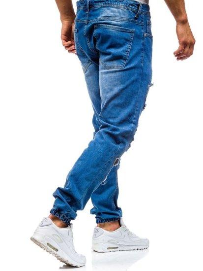 Spodnie jeansowe joggery męskie niebieskie Denley 820
