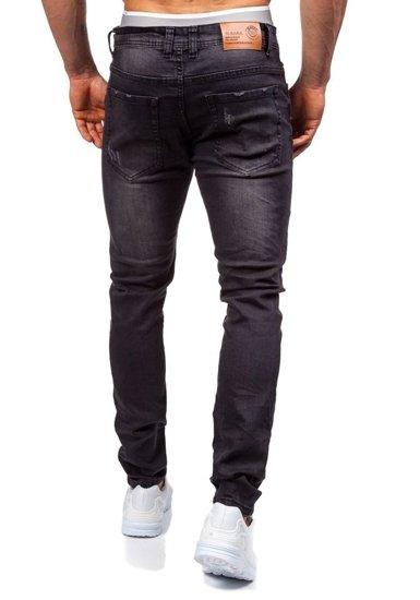 Spodnie jeansowe męskie czarne Denley 8938
