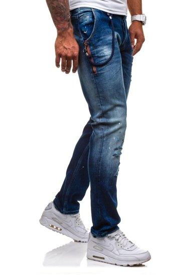 Spodnie jeansowe męskie granatowe Denley 4730 (1000)