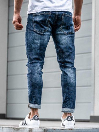 Spodnie jeansowe męskie relaxed fit granatowe Denley  KX271