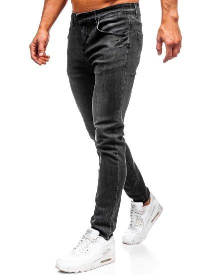 Spodnie jeansowe męskie slim fit czarne Denley KX258