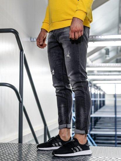 Spodnie jeansowe męskie slim fit czarne Denley KX318