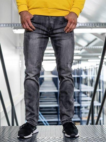 Spodnie jeansowe męskie straight leg czarne Denley KA1575