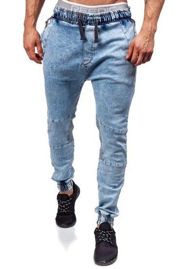 Spodnie joggery męskie błękitne Denley 803