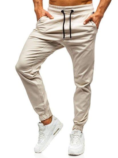 Spodnie joggery męskie ecru Denley 0449-1