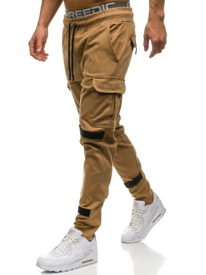 Spodnie męskie bojówki camelowe Denley 2035