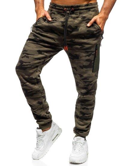 Spodnie męskie dresowe baggy moro-multikolor Denley 3769F