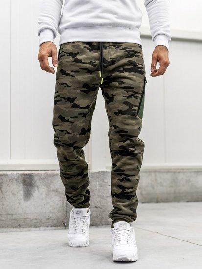 Spodnie męskie dresowe baggy moro-multikolor Denley 3769G