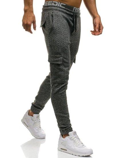 Spodnie męskie dresowe bojówki czarno-szare Denley 0928-8