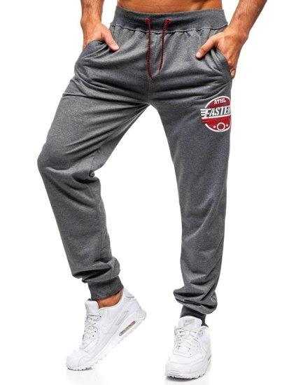 Spodnie męskie dresowe grafitowe Denley MK05