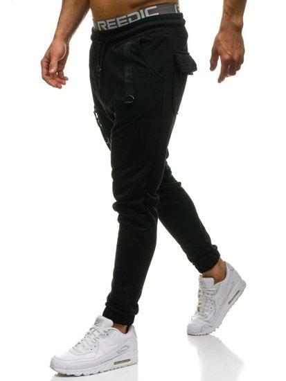 Spodnie męskie dresowe joggery czarne Denley 0923
