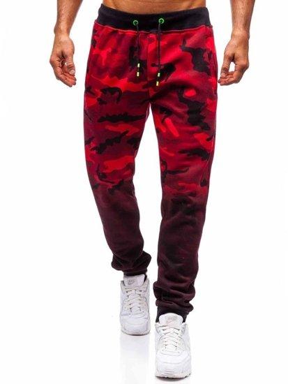 Spodnie męskie dresowe joggery czerwone Denley 55031