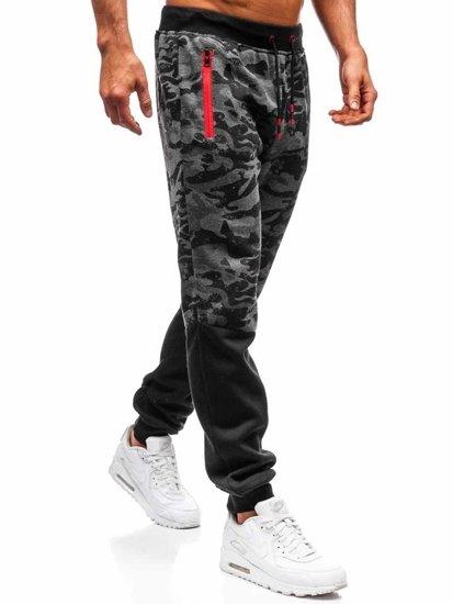 Spodnie męskie dresowe joggery grafitowe Denley 55022
