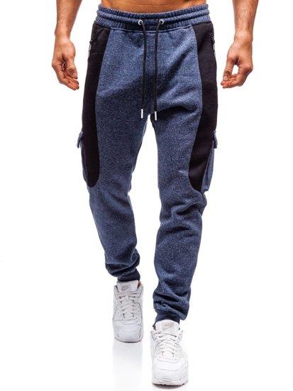 Spodnie męskie dresowe joggery granatowe Denley Q3774