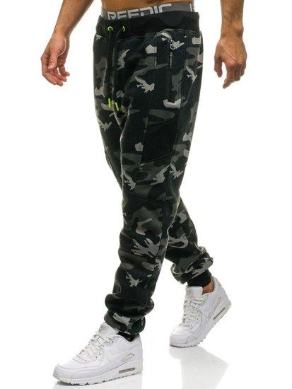 Spodnie męskie dresowe joggery moro-szare Denley 2111