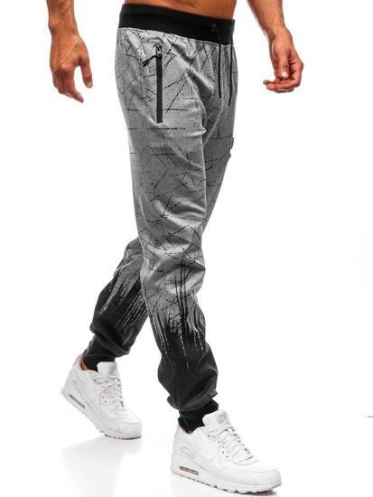 Spodnie męskie dresowe joggery szare Denley HM008