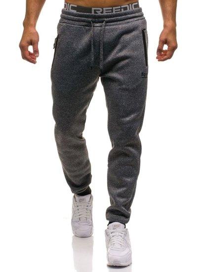 Spodnie męskie dresowe joggery szare Denley W1207