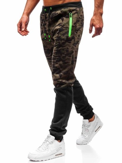 Spodnie męskie dresowe joggery zielone Denley 55022