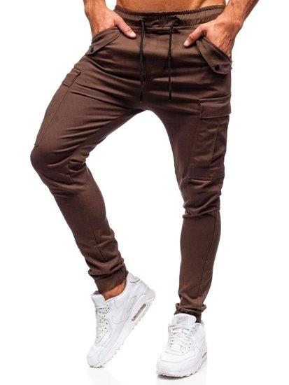 Spodnie męskie joggery bojówki brązowe Denley 1005