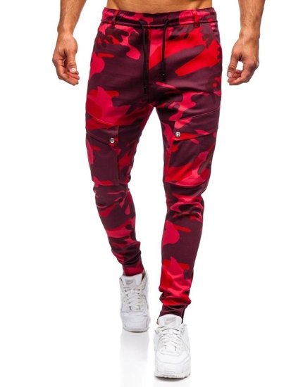 Spodnie męskie joggery bojówki moro-czerwone Denley 1003