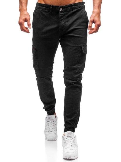Spodnie męskie joggery czarne Denley 2039-1