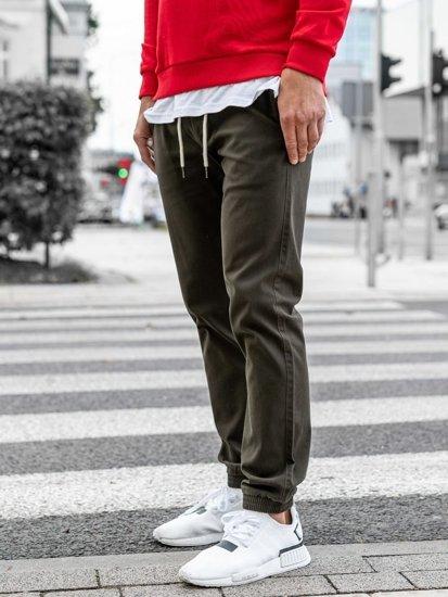 Spodnie męskie joggery khaki Denley 1121