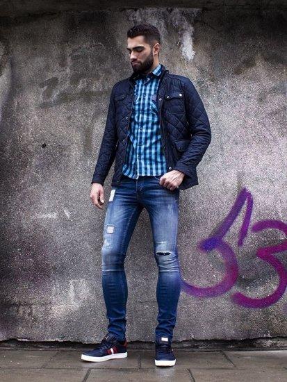Stylizacja nr 106 - kurtka zimowa, koszula w kratę, spodnie jeansowe, buty