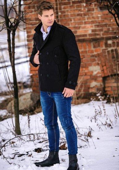 Stylizacja nr 146 - płaszcz zimowy, koszula męska, spodnie jeansowe