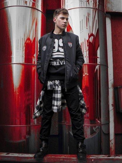 Stylizacja nr 230 - kurtka przejściowa, bluza z nadrukiem, flanelowa koszula, spodnie baggy, buty sneakersy