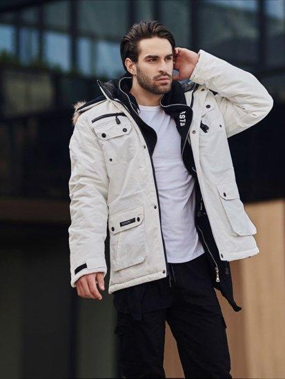 Stylizacja nr 357 - kurtka zimowa parka, bluza z kapturem, longsleeve basic, spodnie bojówki