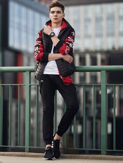 Stylizacja nr 362 - zegarek, pikowana kamizelka, bluza z kapturem, longsleeve, spodnie baggy