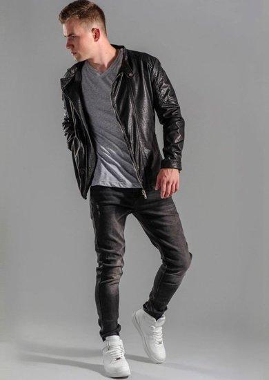Stylizacja nr 49 - kurtka skórzana, T-shirt, spodnie jeansowe