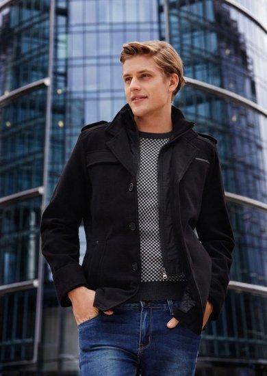 Stylizacja nr 76 - płaszcz zimowy, sweter, spodnie jeansowe