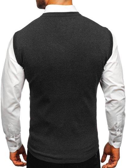 Sweter męski bez rękawów grafitowy Denley H1950