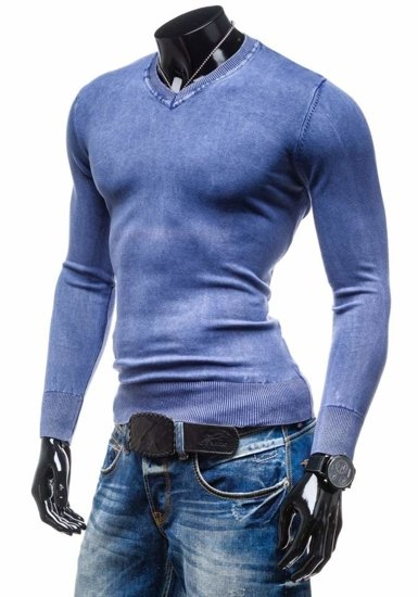 Sweter męski w serek niebieski Denley 6029